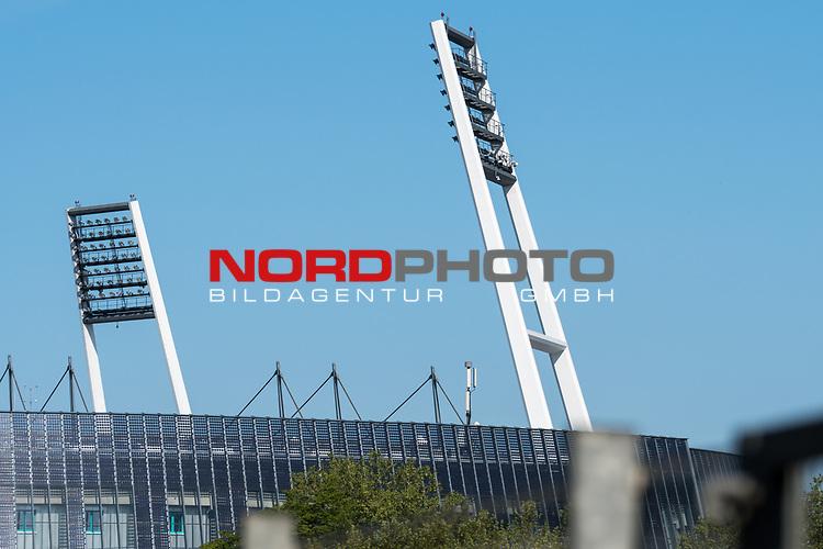 21.05.2020, wohninvest Weserstadion Trainingsplatz, Bremen, GER, Werder Bremen, Training, <br /> <br /> im Bild<br /> Flutlichtmast. Feature / Symbol / Symbolfoto / charakteristisch / Detail<br /> <br /> Foto © nordphoto / Paetzel