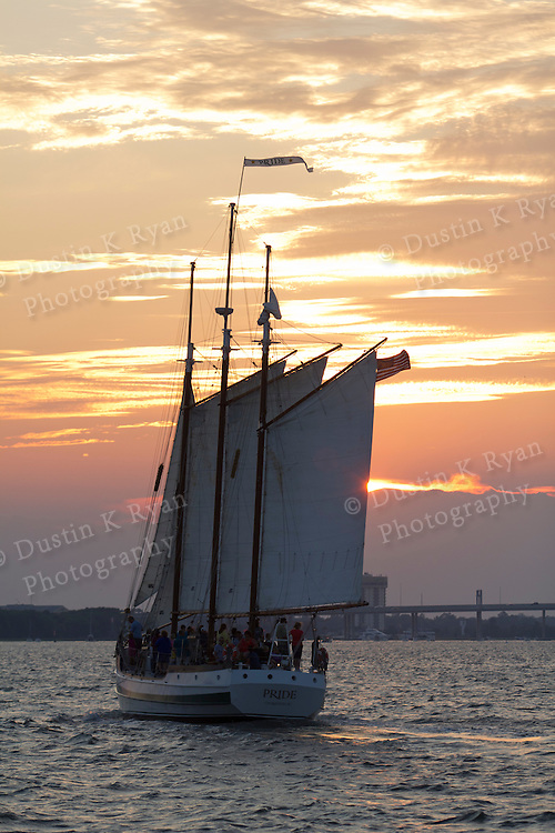 Schooner Pride Sailboat on the Charleston Harbor during sunset