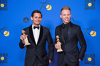 After winning the category of BEST ORIGINAL SONG &ndash; MOTION PICTURE for &quot;This Is Me&quot; for &ldquo;The Greatest Showman&rdquo; - music and lyrics by: Justin Paul and Benj Pasek - pose with the award backstage in the press room at the 75th Annual Golden Globe Awards at the Beverly Hilton in Beverly Hills, CA on Sunday, January 7, 2018.<br /> *Editorial Use Only*<br /> CAP/PLF/HFPA<br /> &copy;HFPA/PLF/Capital Pictures