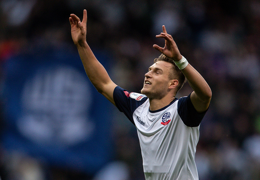 Bolton Wanderers' Dennis Politic celebrates scoring his side's first goal <br /> <br /> Photographer Andrew Kearns/CameraSport<br /> <br /> EFL Leasing.com Trophy - Northern Section - Group F - Bolton Wanderers v Bradford City -  Tuesday 3rd September 2019 - University of Bolton Stadium - Bolton<br />  <br /> World Copyright © 2018 CameraSport. All rights reserved. 43 Linden Ave. Countesthorpe. Leicester. England. LE8 5PG - Tel: +44 (0) 116 277 4147 - admin@camerasport.com - www.camerasport.com