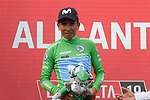 Nairo Quintana (COL) Movistar Team retains the points Green Jersey at the end of Stage 3 of La Vuelta 2019 running 188km from Ibi. Ciudad del Juguete to Alicante, Spain. 26th August 2019.<br /> Picture: Colin Flockton | Cyclefile<br /> <br /> All photos usage must carry mandatory copyright credit (© Cyclefile | Colin Flockton)