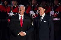 Rome, 24/01/2020. Today, Mike Pence, Vice President of the United States of America (Member of the Republican Party, supporter of the Tea Party Movement, and former Governor of Indiana), visited Palazzo Chigi where he met with the Italian Prime Minister Giuseppe Conte.