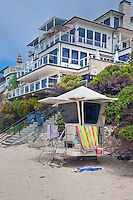 Laguna Beach CA ,Thalia, St. Anns, Beach, Lifeguard Stand, seaside resort, artist community, located in southern, Orange County, California, United States