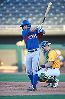 AZL Rangers Cody Freeman (33) at bat during an Arizona League game against the AZL Athletics Gold on July 15, 2019 at Hohokam Stadium in Mesa, Arizona. The AZL Athletics Gold defeated the AZL Rangers 9-8 in 11 innings. (Zachary Lucy/Four Seam Images)