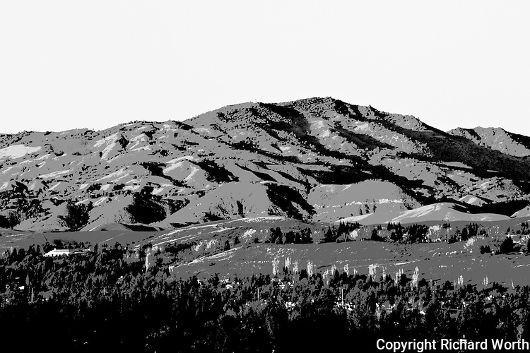 Converted to black and white and processed for graphic impression, Mount Diablo stands over the San Ramon Valley.
