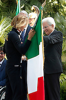 Sergio Mattarella consegna la bandiera alla portabandiera  Federica Pellegrini.<br /> Sergio Mattarella delivers the flag to the standard-bearer Federica Pellegrini<br /> Roma 22-06-2016 Quirinale. Incontro del presidente con gli atleti che parteciperanno alle olimpiadi e alle paralimpiadi di Rio 2016, e consegna della bandiera alle rispettive portabandiera, che quest'anno sono due donne.<br /> Rome 22nd June 2016. Quirinal. The President meets the italian athletes of the Rio 2016 Olympic Games and delivers the flag to the respective standard-bearers<br /> Photo Samantha Zucchi Insidefoto