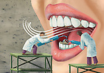 Illustrative image of dentists examining patient's mouth