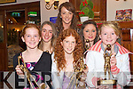Pictured with their player of the year trophies at the Kerry ladies football awards night in the Heights Hotel, Killarney, on Friday night were Louise Ni Mhuircheartaigh,  senior, Corche Dhuihne, Niamh Casey, U12 Southern Gaels, Caroline Dineen, U13 Rathmore, Leanne Curran, U16 Southern Gaels, Nicole O'Connor, U14 Ballyduff and Eilish O'Leary, U11 Kilcummin.