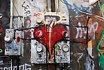 Graffiti art of a heart taken in Atlanta Georgia on December 27, 2014.