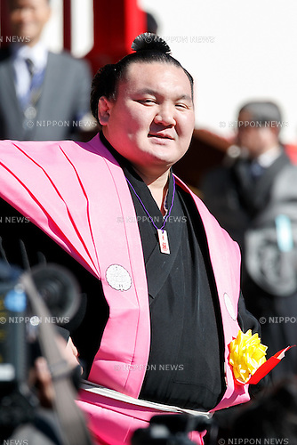 Sumo wrestler Hakuho Sho, takes part in the Setsubun festival at Naritasan Shinshoji Temple on February 3, 2017, in Chiba, Japan. Setsubun is an annual festival celebrated on February 3rd marking the day before the beginning of Spring. Japanese families throw soybeans out of the house to ward off evil spirits and into the house to invite good fortune. Japanese actors and sumo wrestlers are invited to participate in the ceremony at Naritasan Shinshoji Temple which holds one of the biggest events in Japan. (Photo by Rodrigo Reyes Marin/AFLO)
