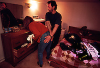 Peter White and his girlfriend at home packing to go out to the Hibernia platform.  He works on the rope access team and she works in the kitchen.  Peter White and his rope access team are able to get to inaccessible places on the platform.  And also they can get to places quickly that would take weeks to mount scaffolding.  Because this is the first yearly inspection of the welds, this is the first time they have hung off the flare boom on ropes.