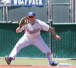 Reno's Duncan Wilmot makes the play at first in the NIAA Division I Northern Region Baseball Championship between the Galena Grizzlies and the Reno Huskies played on Saturday, May 14, 2016 at Peccole Park in Reno, Nevada.