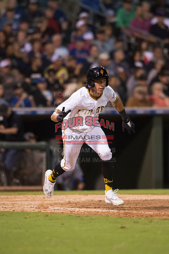 AFL West shortstop Cole Tucker (2), of the Surprise Saguaros and the Pittsburgh Pirates organization, runs to first base during the Fall Stars game at Surprise Stadium on November 3, 2018 in Surprise, Arizona. The AFL West defeated the AFL East 7-6 . (Zachary Lucy/Four Seam Images)