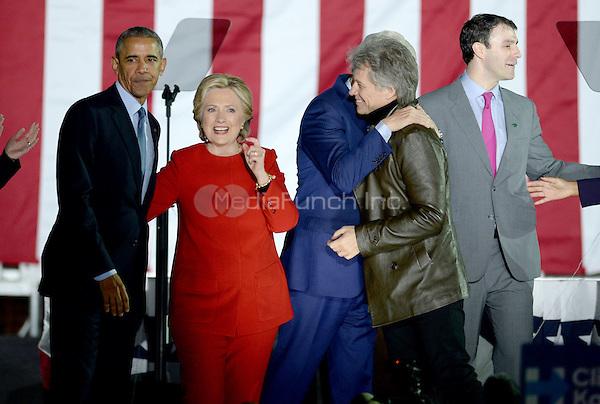 PHILADELPHIA, PA - NOVEMBER 7: President Barack Obama, Bill Clinton, Chelsea Clinton, Jon Bon Jovi and Hillary Clinton at the GOTV Rally in support of Hillary Clinton for President at Independence Mall in Philadelphia, Pennsylvania on November 7, 2016. Credit: Dennis Van Tine/MediaPunch