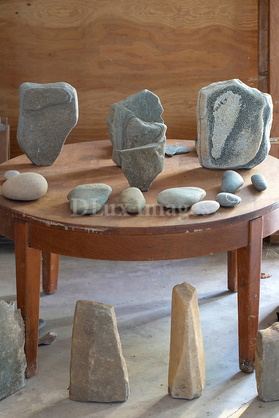 Sculptures on a wooden table