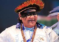 PARINTINS, AM, 30.06.2019: PARINTINS-AMAZONAS. Davi Kopenawa Yanomami, Lider Político Yanomami e atual presidente da Hutukara Associação Yanomami. Apresentação do Boi Caprichoso na terceira e última noite do 54o festival Folclorico de Parintins, neste domingo (30), no bumdódromo. Parintins fica a 370 km de Manaus.<br /> Foto: Sandro Pereira/Codigo19