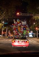 Taxi with balloons in Escandon, Mexico City