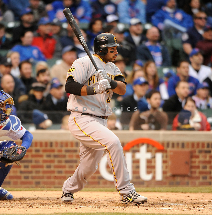 PEDRO ALVAREZ, of the Pittsburgh Pirates, in actions during the Pirates game against the Chicago Cubs at Wrigley FIeld on April 3, 2011.  The Pirates won the game beating the Cubs 5-4.