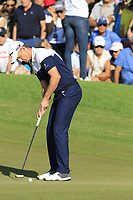 Justin Rose (ENG) sinks his birdie putt on the 16th green during Sunday's Final Round of the 2018 Turkish Airlines Open hosted by Regnum Carya Golf &amp; Spa Resort, Antalya, Turkey. 4th November 2018.<br /> Picture: Eoin Clarke | Golffile<br /> <br /> <br /> All photos usage must carry mandatory copyright credit (&copy; Golffile | Eoin Clarke)