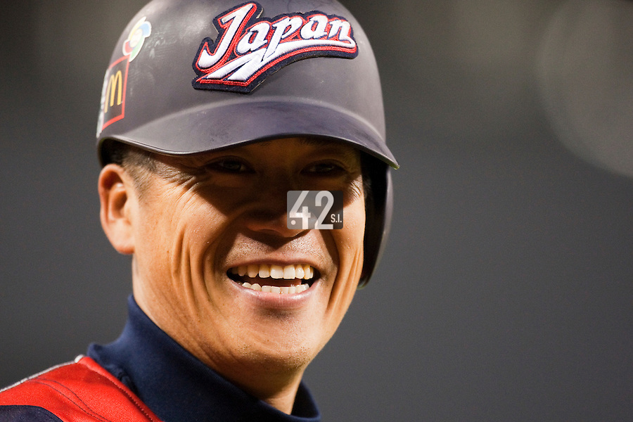 18 March 2009: #2 Kenji Johjima of Japan smiles in the batter box during the 2009 World Baseball Classic Pool 1 game 5 at Petco Park in San Diego, California, USA. Japan wins 5-0 over Cuba.