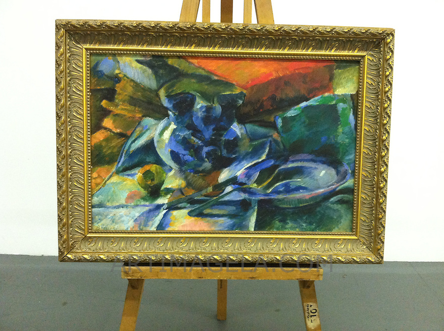 "1894_328459 Umberto Boccioni Still Life Digital Print On Canvas Framed Dimensions: 32 1/2"" x 44 1/2"" Heavy Gold Frame"