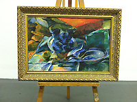 "1894_328459 Umberto Boccioni Still Life Digital Print On Canvas Framed Dimensions: 32 1/2"" x 44 1/2"" Heavy Gold Frame"