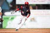 Batavia Muckdogs shortstop Samuel Castro (25) running the bases during a game against the Auburn Doubledays on September 5, 2016 at Dwyer Stadium in Batavia, New York.  Batavia defeated Auburn 4-3. (Mike Janes/Four Seam Images)