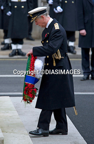 "PRINCE CHARLES - REMEMBRANCE SERVICE 2010.Prince Philip, Prince Charles, Prince Andrew Prince Edward and Princess Anne joined the Queen at the Cenotaph, London for the annual Service of Remembrance_14/11/2010.Mandatory Photo Credit: ©Dias/DIASIMAGES..**ALL FEES PAYABLE TO: ""NEWSPIX INTERNATIONAL""**..PHOTO CREDIT MANDATORY!!: DIASIMAGES(Failure to credit will incur a surcharge of 100% of reproduction fees)..IMMEDIATE CONFIRMATION OF USAGE REQUIRED:.DiasImages, 31a Chinnery Hill, Bishop's Stortford, ENGLAND CM23 3PS.Tel:+441279 324672  ; Fax: +441279656877.Mobile:  0777568 1153.e-mail: info@diasimages.com"