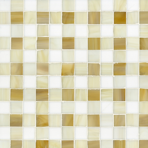 Bonnie, a jewel glass mosaic field shown in Tiger's Eye, Quartz and Absolute White.