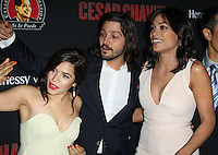 "HOLLYWOOD, LOS ANGELES, CA, USA - MARCH 20: America Ferrera, Diego Luna, Rosario Dawson at the Los Angeles Premiere Of Pantelion Films And Participant Media's ""Cesar Chavez"" held at TCL Chinese Theatre on March 20, 2014 in Hollywood, Los Angeles, California, United States. (Photo by Celebrity Monitor)"
