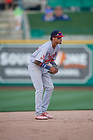 Peoria Chiefs shortstop Delvin Perez (32) during a Midwest League game against the Fort Wayne TinCaps on July 17, 2019 at Parkview Field in Fort Wayne, Indiana.  Fort Wayne defeated Peoria 6-2.  (Mike Janes/Four Seam Images)