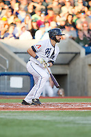 Stephen Dezzi (19) of the Hillsboro Hops at bat during a game against the Tri-City Dust Devils at Ron Tonkin Field in Hillsboro, Oregon on August 24, 2015.  Tri-City defeated Hillsboro 5-1. (Ronnie Allen/Four Seam Images)