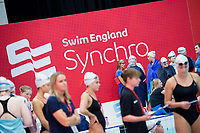 Picture by Allan McKenzie/SWpix.com - 25/11/2017 - Swimming - Swim England Synchronised Swimming National Age Group Championships 2017 - GL1 Leisure Centre, Gloucester, England - Competitors compete, Swim England, Synchro, branding.