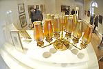 Tiffany Studio's Twelve Light Candelabrum, circa 1910, at Nassau County Museum of Art, Roslyn Harbor, New York, USA, on February 12, 2012. Hand-blown favrile glass, opal cabochons and bronze, courtesy of Lillian Nassau.