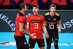 14.09.2019, Paleis 12, BrŸssel / Bruessel<br />Volleyball, Europameisterschaft, Deutschland (GER) vs. Belgien (BEL)<br /><br />Jubel Georg Grozer (#9 GER), Ruben Schott (#3 GER), Julian Zenger (#10 GER)<br /><br />  Foto © nordphoto / Kurth