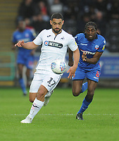 Swansea City's Cameron Carter-Vickers under pressure from Bolton Wanderers' Clayton Donaldson<br /> <br /> Photographer Kevin Barnes/CameraSport<br /> <br /> The EFL Sky Bet Championship - Swansea City v Bolton Wanderers - Saturday 2nd March 2019 - Liberty Stadium - Swansea<br /> <br /> World Copyright © 2019 CameraSport. All rights reserved. 43 Linden Ave. Countesthorpe. Leicester. England. LE8 5PG - Tel: +44 (0) 116 277 4147 - admin@camerasport.com - www.camerasport.com