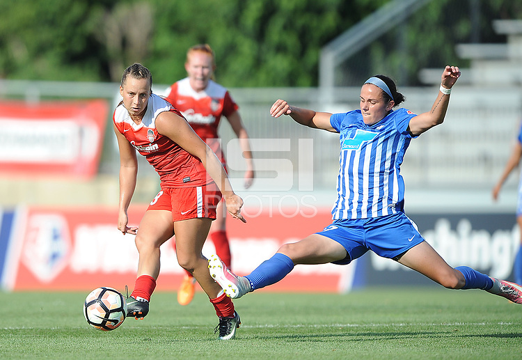 Boyds, MD - Saturday August 12, 2017: Meggie Dougherty Howard, Amanda Frisbie during a regular season National Women's Soccer League (NWSL) match between the Washington Spirit and the Boston Breakers at Maureen Hendricks Field, Maryland SoccerPlex.