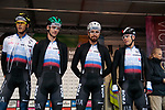 Erik Baska, Jan Andrej Cully, Peter and Juraj Sagan of Slovakia at sign on before the Men Elite Road Race of the UCI World Championships 2019 running 280km from Leeds to Harrogate, England. 29th September 2019.<br /> Picture: Colin Flockton | Cyclefile<br /> <br /> All photos usage must carry mandatory copyright credit (© Cyclefile | Colin Flockton)