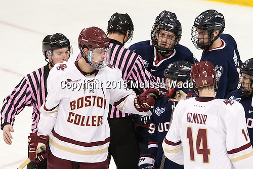 Pat Turcotte, Zach Sanford (BC - 24), Shawn Pauly (UConn - 9), Evan Richardson (UConn - 19), David Drake (UConn - 22), Adam Gilmour (BC - 14) - The Boston College Eagles defeated the visiting University of Connecticut Huskies 3-2 on Saturday, January 24, 2015, at Kelley Rink in Conte Forum in Chestnut Hill, Massachusetts.