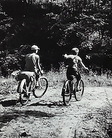 Friends riding bikes on a country lane.