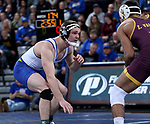 SIOUX FALLS, SD - NOVEMBER 11: Brett Bye from South Dakota State battles with Zahid Valencia from Arizona State during their 174 pound match Sunday afternoon at the Sanford Pentagon in Sioux Falls, SD.  (Photo by Dave Eggen/Inertia)