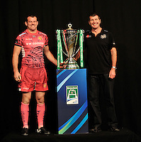 London, England. Exeter Chiefs Captain Tom Hayes poses with Director of Rugby Rob Baxter and the Heineken Cup during the UK Heineken Cup and Amlin Challenge Cup season launch at SKY Studios on October 1, 2012 in London, England