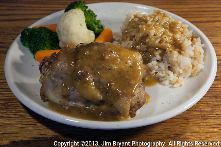 Baked Chicken thighs, vegetable melody, brown rice and gravy. ©2013. Jim Bryant Photo. All Rights Reserved.