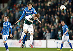 Hibs v St Johnstone...30.01.16   Utilita Scottish League Cup Semi-Final, Tynecastle..<br /> Murray Davidson gets above Fraser Fyvie<br /> Picture by Graeme Hart.<br /> Copyright Perthshire Picture Agency<br /> Tel: 01738 623350  Mobile: 07990 594431