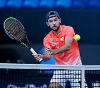 7th January 2020; RAC Arena, Perth, Western Australia; ATP Cup Australia, Perth, Day 5; Russia versus Norway; Viktor Durasovic of Norway plays a volley at the net during the doubles - Editorial Use