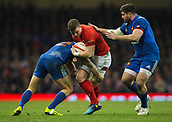 17th March 2018, Principality Stadium, Cardiff, Wales; NatWest Six Nations rugby, Wales versus France; Scott Williams of Wales is tackled by Geoffrey Doumayrou of France