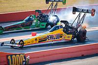 Oct 20, 2019; Ennis, TX, USA; NHRA top fuel driver Leah Pritchett (near) defeats Kebin Kinsley during the Fall Nationals at the Texas Motorplex. Mandatory Credit: Mark J. Rebilas-USA TODAY Sports