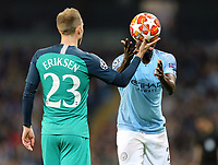 Tottenham Hotspur's Christian Eriksen hands the ball to Manchester City's Benjamin Mendy<br /> <br /> Photographer Rich Linley/CameraSport<br /> <br /> UEFA Champions League - Quarter-finals 2nd Leg - Manchester City v Tottenham Hotspur - Wednesday April 17th 2019 - The Etihad - Manchester<br />  <br /> World Copyright © 2018 CameraSport. All rights reserved. 43 Linden Ave. Countesthorpe. Leicester. England. LE8 5PG - Tel: +44 (0) 116 277 4147 - admin@camerasport.com - www.camerasport.com
