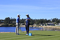 Jon Rahm (ESP) and David Abeles wait on the 18th tee at Pebble Beach course during Friday's Round 2 of the 2018 AT&amp;T Pebble Beach Pro-Am, held over 3 courses Pebble Beach, Spyglass Hill and Monterey, California, USA. 9th February 2018.<br /> Picture: Eoin Clarke | Golffile<br /> <br /> <br /> All photos usage must carry mandatory copyright credit (&copy; Golffile | Eoin Clarke)