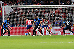 Atletico de Madrid's Angel Martin Correa (L) and Koke Resurreccion (R) during UEFA Champions League match between Atletico de Madrid and Club Brugge at Wanda Metropolitano Stadium in Madrid, Spain. October 03, 2018. (ALTERPHOTOS/A. Perez Meca)